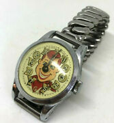 Vintage Bob Smith Howdy Doody Watch Silver Stretch Band -swiss Made