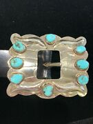 Heavy Vintage Navajo Sterling Silver And Turquoise Concho Belt - Signed Mp