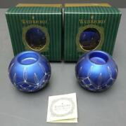 Set Of 2 Waterford Holiday Heirlooms Blue Glitter Ornaments - 3.5h X 4d