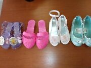 Disney Princess Play Dress Up Shoes Lot Of 4 Pairs Pink Purple Red Blue Sz 7 -10