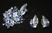 Vtg Signed Sherman - Stunning Floral Rhinestone Brooch And Earrings - Blues - Rare