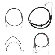 Black +10 Cable And Brake Line Cmpt Kit 2011-2015 Harley-davidson Softail W/abs