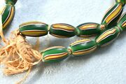 Vintage Or Antique Green Yellow Red Stripe Murano Venetian African Trade Beads