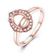 Fine Jewelry Oval 8x6mm 0.2ct Diamonds Vintage Antique Ring Solid 18k Rose Gold