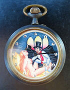 Erotic Animation Antique French Rare Blacksteel 66mm Big Pocket Watch From 1900