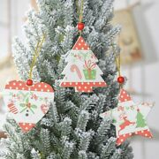 Natural Wooden Christmas Tree Hanging Pendants Stylish Ornament Home Decorations