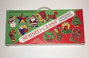 Vintage Christmas Colorful Stained Glass Window Hanging Ornaments