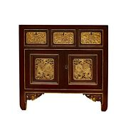Chinese Vintage Fujian Golden Foo Dogs Carving Chest Cabinet Cs5870