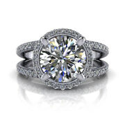 Natural Diamond Round Cut 1.45 Ct 14k White Gold Engagement Rings Size 6 7 8