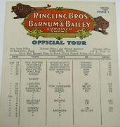 Ringling Bros Barnum Bailey Circus Official Tour Schedule Route 1950 Number 4