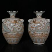 12.4china Old Yuan Dynasty Multicolored A Touch Of Gold Animal Head Bottle