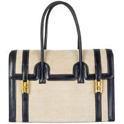 61706 Auth Hermes Marine Blue Leather And Toile H Drag 30 Bag Vintage