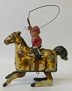 Vintage 1925 Marx Tin Lithographed And Celluloid Ride And039em Cowboy Wind-up Toy