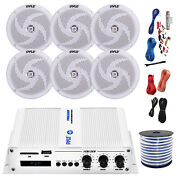 Pyle Marine 6-channel Bluetooth Amp + Kit 6x 5.25 White Speakers 50 Ft Wire