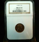 1938s Lincoln Wheat Penny 1 Cent Coin Graded Ngc Ms 65 Red Htf Grade