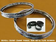 Honda Cb350f Cb400f Front And Rear Steel Wheel Rim Set And Tape Rubber [as1301]