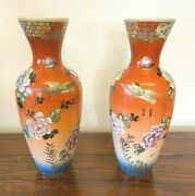 A Pair Of Oriental Satsuma Hand Painted Vases Chipped