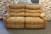 Parker Knoll Denver Electric Recliner L 2 Seater Sofa In Gold Chenille Fabric