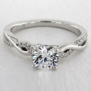 0.80 Ct Round Cut Real Diamond 14k White Gold Engagement Bridal Rings Size 6 7 8