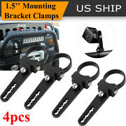 4x 1.5 Tube Mount Bracket Cage Clamps Bull Roll Led Light Bar Offroad Bumper Us