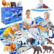 Giftinthebox Polar Animal Figurines Toys With Large Activity Play Mat Realistic