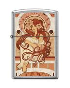Zippo 82322 Art Nouveau Deco Woman Long Redhead Old Fashioned Poster Lighter