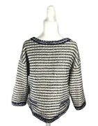 Womenand039s Nwt St. John Couture Gold And Navy Woven Sequin 3/4 Sleeve Top Size M