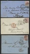 Uk Gb 1875 78 Three Covers Franked Sg 139 Plate 3 And 141 Plates 4 And 11 One Stamp