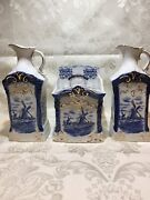 German Porcelain Delft-style Windmill Pattern Ceramic Canister And Two Pitchers