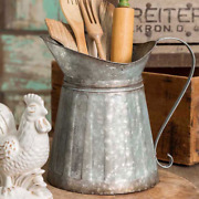 Metal Milk Pitcher With Handle - Farmhouse, Country Decor - 11 Tall