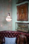 Early 20th Century Caged Brass And Prismatic Glass Holophane Lantern Light