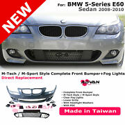 Front Bumper M-sport Style Left Right Fog Lamps Kit For 2008-2010 Bmw 5 Series