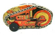Vintage Mar Tin Toy Us Army Wind Up Tank Toy