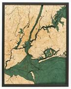 5 Boroughs Of New York Wood Carved Topographic Depth Chart / Map
