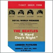 The Beatles A Hard Dayandrsquos Night Royal World Premiere Ticket Order Form Uk