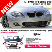 Front Bumper M-sport Style Left Right Fog Lamps Kit For 04-07 Bmw 5 Series E60