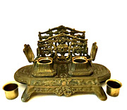 Antique Brass Double Inkwell Stand And Letter Holder Desk Organizer 11.5 X 9.5