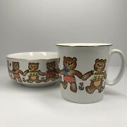 Action Japan Vintage Childand039s Cup And Bowl Bears Holding Hands
