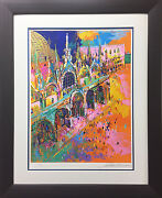 Leroy Neiman Piazza San Marcos Custom Framed Hand Signed And Serigraph S/n Italy