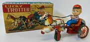 Vintage Kanto Japan Tin Windup Lucky Trotter Boy Riding On Horse Carriage Toy