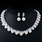 Dainty Cz Stone Big Pearl Choker Necklace Earring Set For Bridal Costume Jewelry