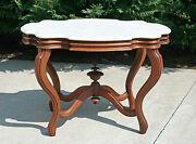 Large Victorian Walnut Turtle Shaped Marble Top Lamp Center Parlor Table C1880