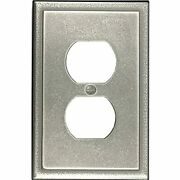Single Duplex - Brushed Nickel Outlet Cover Ambient Cast Metal Decorative Light