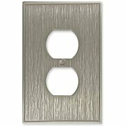 Single Duplex - Brushed Nickel Outlet Cover Twill Cast Metal Decorative Light