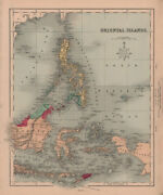 Oriental Islands. Indonesia And Philippines. Borneo Celebes. Hughes 1876 Old Map