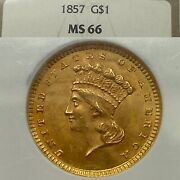 1857 1 Gold Coin Piece Ms66 Ngc Highest Known Grade Population 6