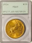 1924 20 Gold Double Eagle Pcgs Ms65 Rattler - Beautiful Coin