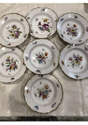 Antique Meissen Germany Plate Flowers Sprig 19th Century Soup Bowl, Set Of 7