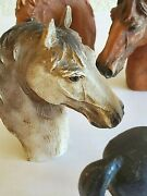 Basket With Vintage Lot Of 9 Miniature Horse Heads Chickens Terra Cotta Pot
