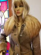 Dolce And Gabbana Leather Jacket Coat W/ Fox Fur Collar And Crystal Buttons Size 6